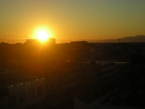 校舎から見えた夕陽
