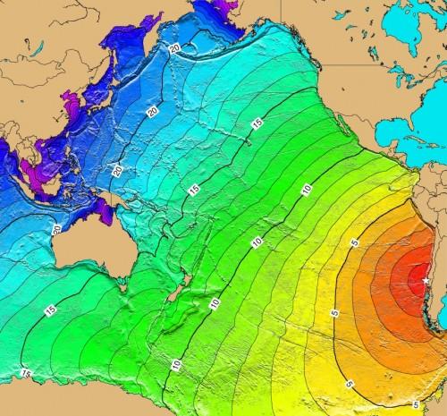 1960年チリ沖地震での津波到達時間(数字は時間)
