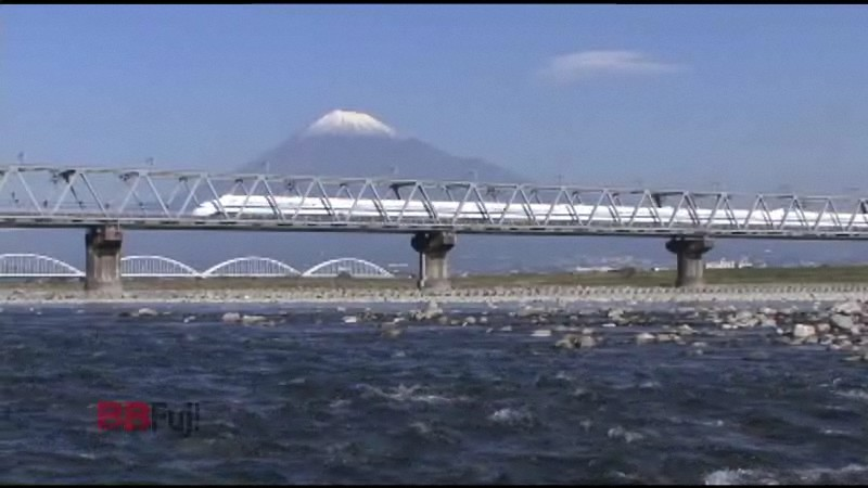 the shinkansen and mt.fuji of the iron bridge on fuji-river